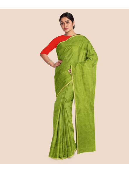 Handwoven Olive Green RAW Silk Saree-3