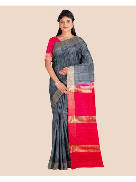 Slate Grey Handwoven Tussar Ghicha Silk Saree with Reddish Pink Golden Zari Pallu and Blouse Piece-LAATGHSWBP001