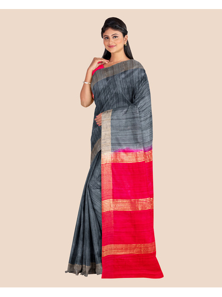 Slate Grey Handwoven Tussar Ghicha Silk Saree with Reddish Pink Golden Zari Pallu and Blouse Piece-2