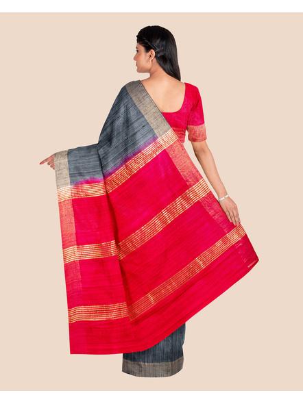 Slate Grey Handwoven Tussar Ghicha Silk Saree with Reddish Pink Golden Zari Pallu and Blouse Piece-1