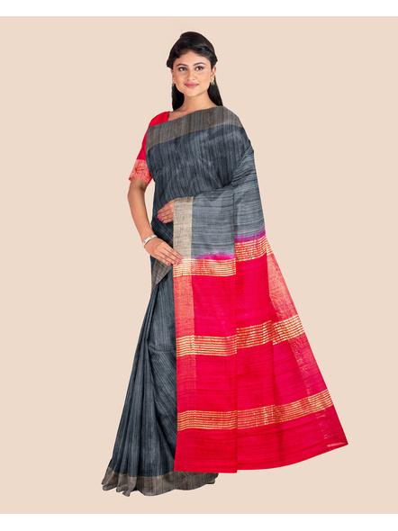 Slate Grey Handwoven Tussar Ghicha Silk Saree with Reddish Pink Golden Zari Pallu and Blouse Piece-3