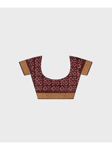 Brown Chanderi Print Cotton Silk Kota Saree with Blouse piece-4