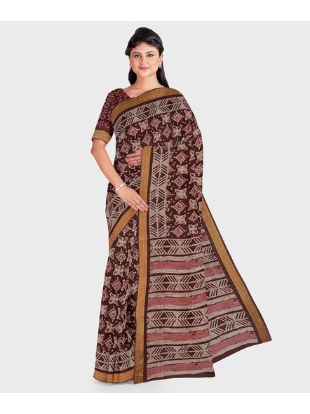 Brown Chanderi Print Cotton Silk Kota Saree with Blouse piece-LAACSKOTA001