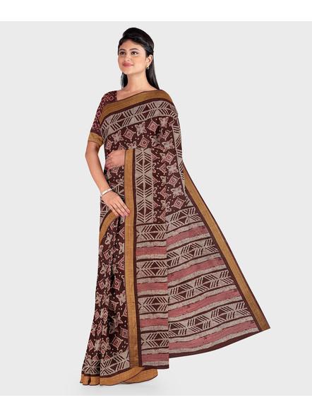 Brown Chanderi Print Cotton Silk Kota Saree with Blouse piece-2