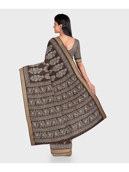 Brown Chanderi Print Cotton Silk Kota Saree with Blouse piece-1