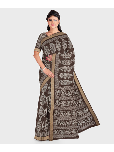 Brown Chanderi Print Cotton Silk Kota Saree with Blouse piece-LAACSKOTA002