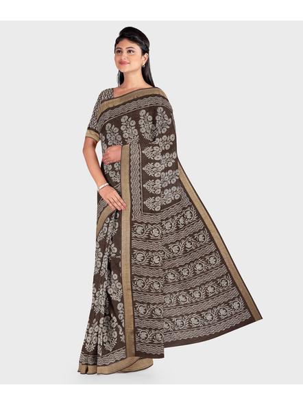 Brown Chanderi Print Cotton Silk Kota Saree with Blouse piece-3