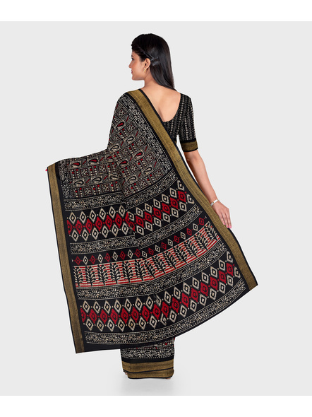 Black Chanderi Print Cotton Silk Kota Saree with Blouse piece-1