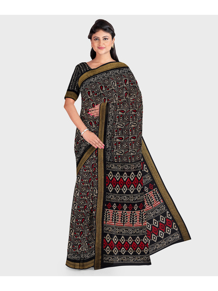 Black Chanderi Print Cotton Silk Kota Saree with Blouse piece-LAACSKOTA003