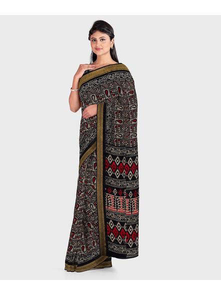 Black Chanderi Print Cotton Silk Kota Saree with Blouse piece-2