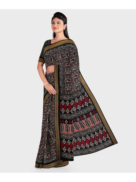Black Chanderi Print Cotton Silk Kota Saree with Blouse piece-3