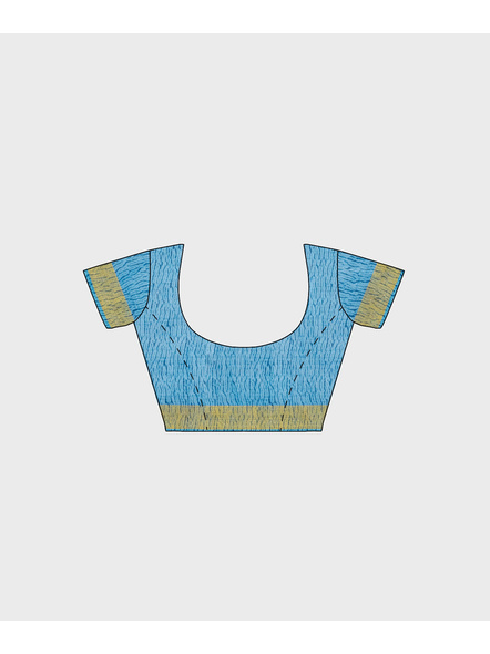 Blue Chanderi Print Cotton Silk Shibori Kota Saree with Blouse piece-4