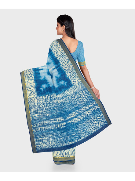 Blue Chanderi Print Cotton Silk Shibori Kota Saree with Blouse piece-1