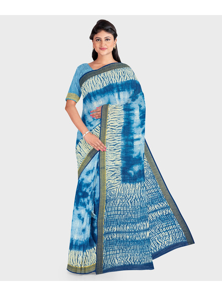 Blue Chanderi Print Cotton Silk Shibori Kota Saree with Blouse piece-LAACSSKOTA001