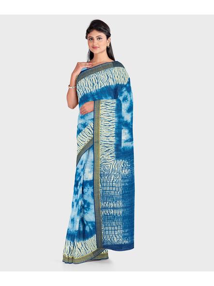 Blue Chanderi Print Cotton Silk Shibori Kota Saree with Blouse piece-2