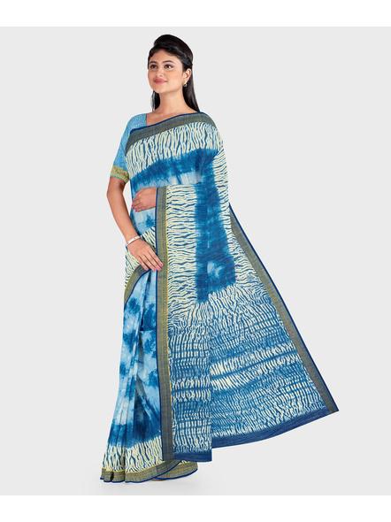 Blue Chanderi Print Cotton Silk Shibori Kota Saree with Blouse piece-3