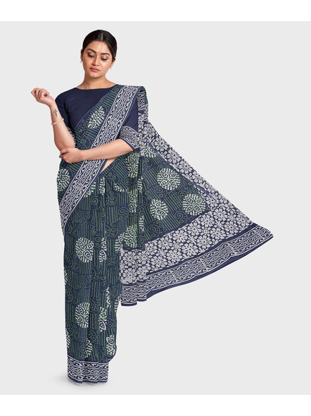 Printed Mulmul Pure Cotton Saree with Blouse piece-LAAMMCWBP007