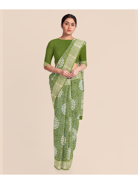 Floral Moss Green Pure Mulmul Cotton Saree with BP-3