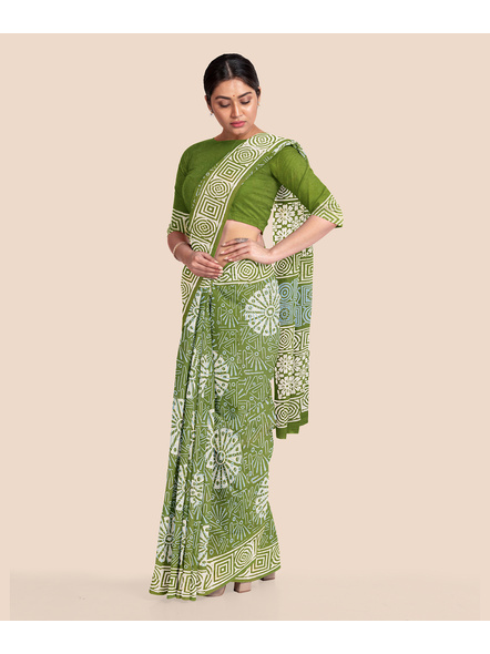 Floral Moss Green Pure Mulmul Cotton Saree with BP-2