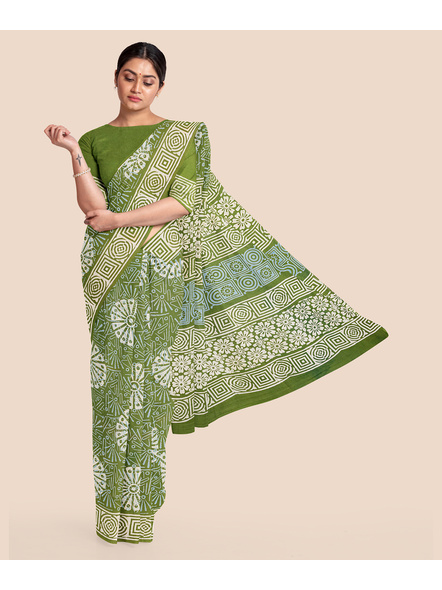 Floral Moss Green Pure Mulmul Cotton Saree with BP-LAAMMCWBP010