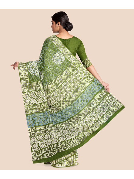 Floral Moss Green Pure Mulmul Cotton Saree with BP-1