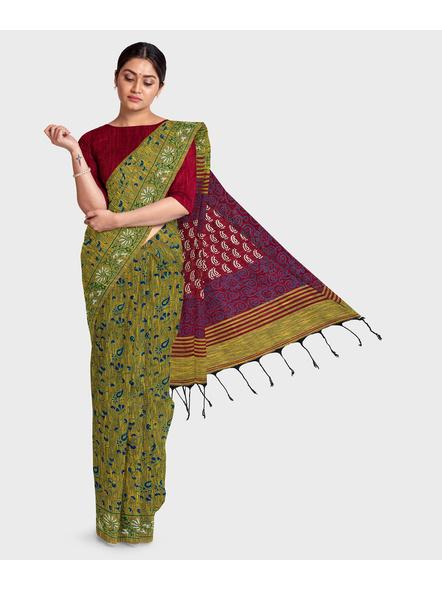 Khadi Cotton Ajrakh Saree-LAAKCAS002