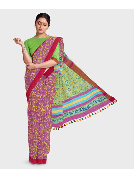 Handloom Khadi Cotton Ajrakh Saree with Blouse piece-LAAKCAS003