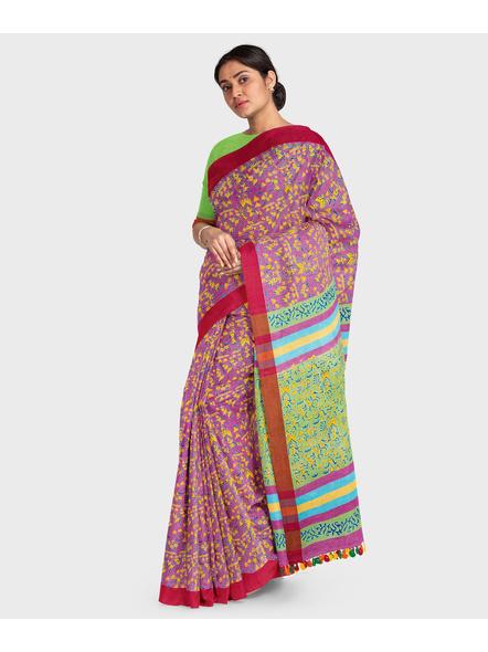 Handloom Khadi Cotton Ajrakh Saree with Blouse piece-2