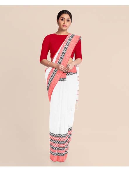 White Red Handwoven Khadi Cotton Begumpuri Mahapaar Saree with Blouse Piece-3