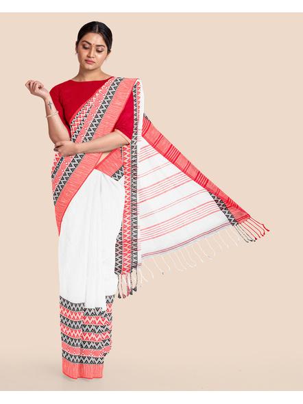 White Red Handwoven Khadi Cotton Begumpuri Mahapaar Saree with Blouse Piece-LAAHKBSWBP005
