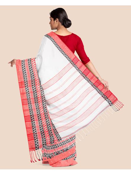 White Red Handwoven Khadi Cotton Begumpuri Mahapaar Saree with Blouse Piece-1