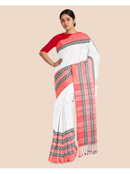 White Red Handwoven Khadi Cotton Begumpuri Mahapaar Saree with Blouse Piece-2