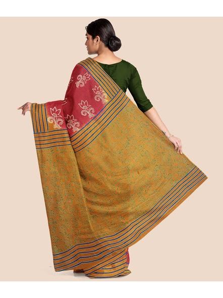 Printed Mulmul Cotton Saree (Red)-1