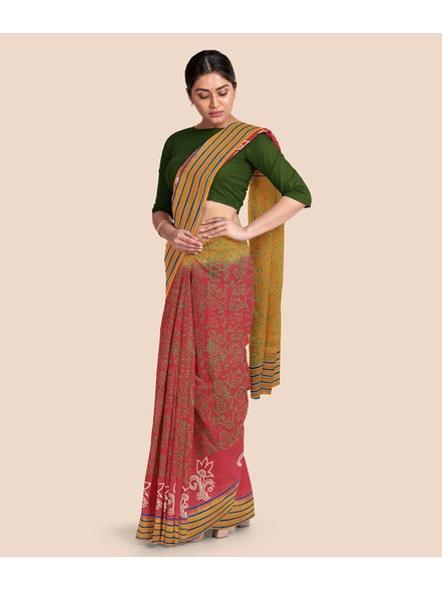 Printed Mulmul Cotton Saree (Red)-4
