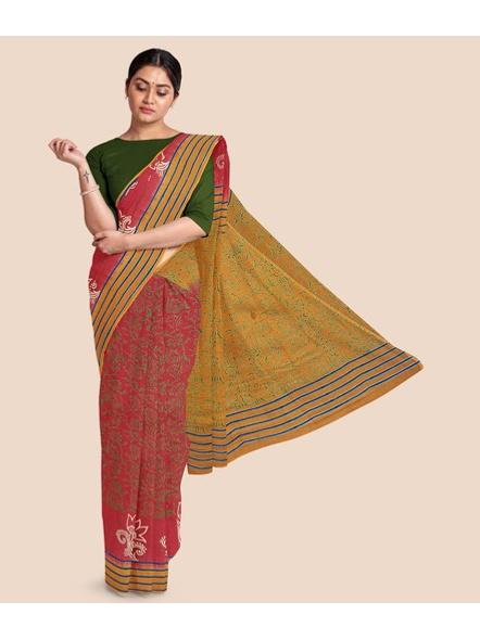 Printed Mulmul Cotton Saree (Red)-LAAMMCNBP004
