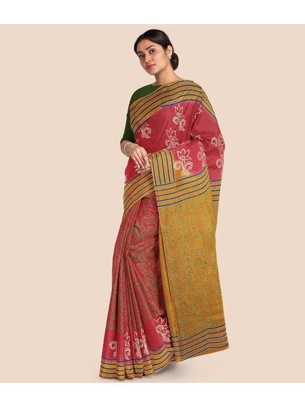 Printed Mulmul Cotton Saree (Red)-2
