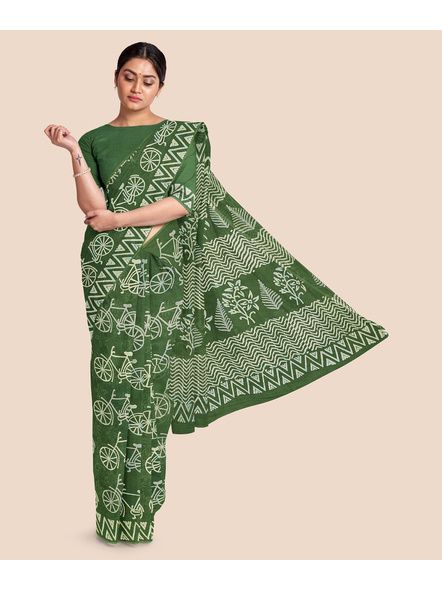Printed Mulmul Pure Cotton Saree with Blouse piece-LAAMMCWBP002