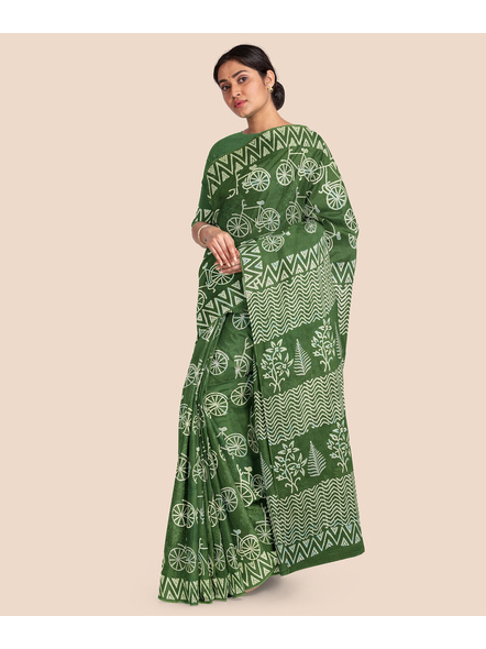 Printed Mulmul Pure Cotton Saree with Blouse piece-2