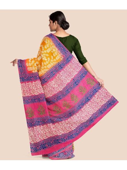 Printed Mulmul Pure Cotton Saree (Yellow)-1
