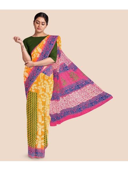Printed Mulmul Pure Cotton Saree (Yellow)-LAAMMCNBP005
