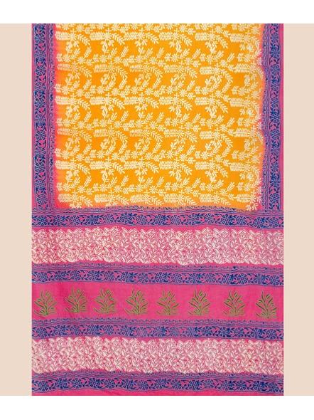Printed Mulmul Pure Cotton Saree (Yellow)-3