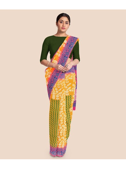Printed Mulmul Pure Cotton Saree (Yellow)-4
