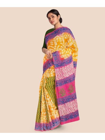 Printed Mulmul Pure Cotton Saree (Yellow)-2