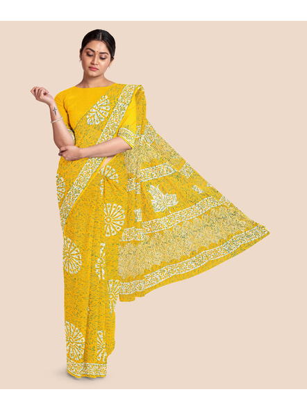 Printed Mulmul Pure Cotton Saree with Blouse piece-LAAMMCWBP003