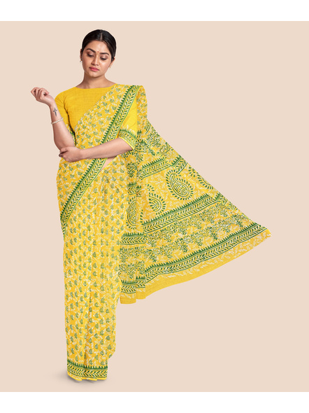 Printed Mulmul Pure Cotton Saree with Blouse piece-LAAMMCWBP004