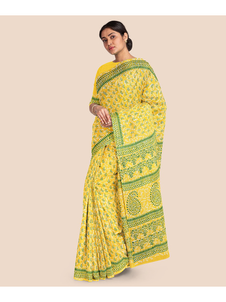 Printed Mulmul Pure Cotton Saree with Blouse piece-4