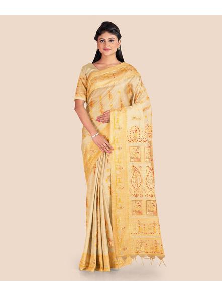 Baluchari Silk Blend Saree with Blouse Piece (Beige)-LAABASS003