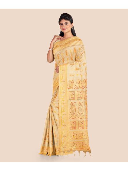 Baluchari Silk Blend Saree with Blouse Piece (Beige)-4
