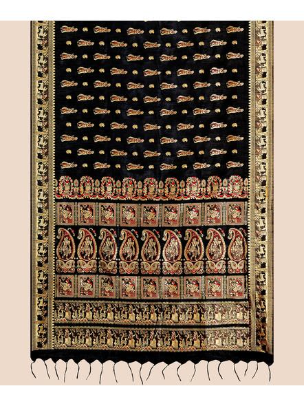 Baluchari Silk Blend Saree with Blouse Piece (Black)-3