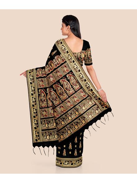 Baluchari Silk Blend Saree with Blouse Piece (Black)-1